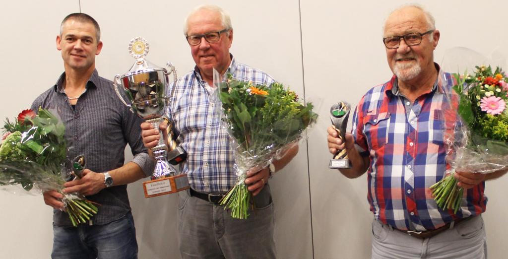 Van links naar rechts: Frank Arts (3e), Lambert van Thiel (1e) en Henk van Kuppeveld (2e).