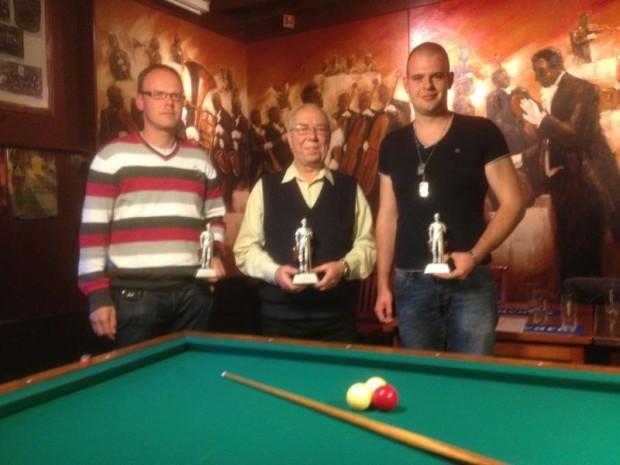 Van links naar rechts Stefan Hoen (2e), Jan Vehaaren (1e) en Jacco Sessing (3e)