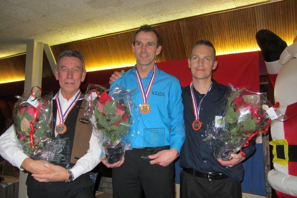 V.l.n.r. Theo Derksen (zilver), Roland Deelen (goud) en Marco van Dopperen (3e)