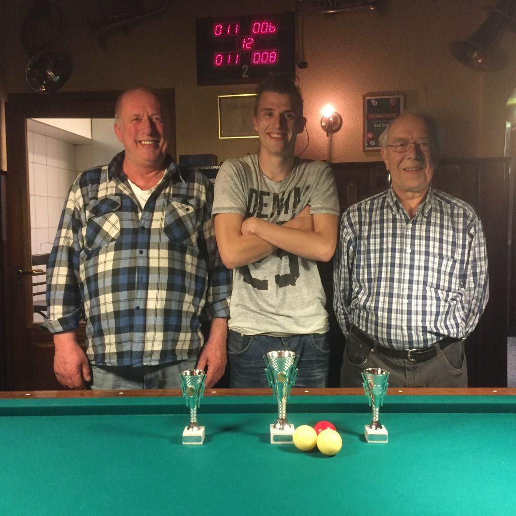 V.l.n.r. Marco van Zetten (3e), Wesley Peters (1e) en Jan Verhaaren (2e).