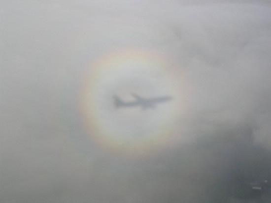 Marij Biemans uit Zeeland maakte deze foto van Glorie rondom de schaduw van haar vliegtuig, tijdens haar vakantie in Mexico in augustus 2006. De Glorie is een optisch verschijnsel, dat door de toenemende luchtvaart tegenwoordig steeds vaker wordt waargenomen.