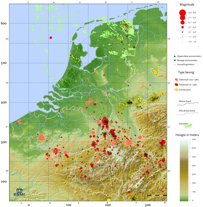 Kaart aardbevingen in NL