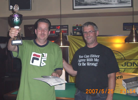 Ray Dibbets (links) krijgt zojuist de beker met bijhorende ballonvlucht overhandigd van organisator Gerard Kroon