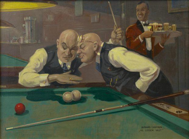 De biljartspelers, met twee biljarters die elkaar verdringen om te zien of de ballen vast liggen.