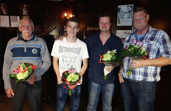 Vlnr: Frans Daamen (4e), Wesley Peters (3e), Noud van den Burgt (1e) en Jan Dunk (2e).
