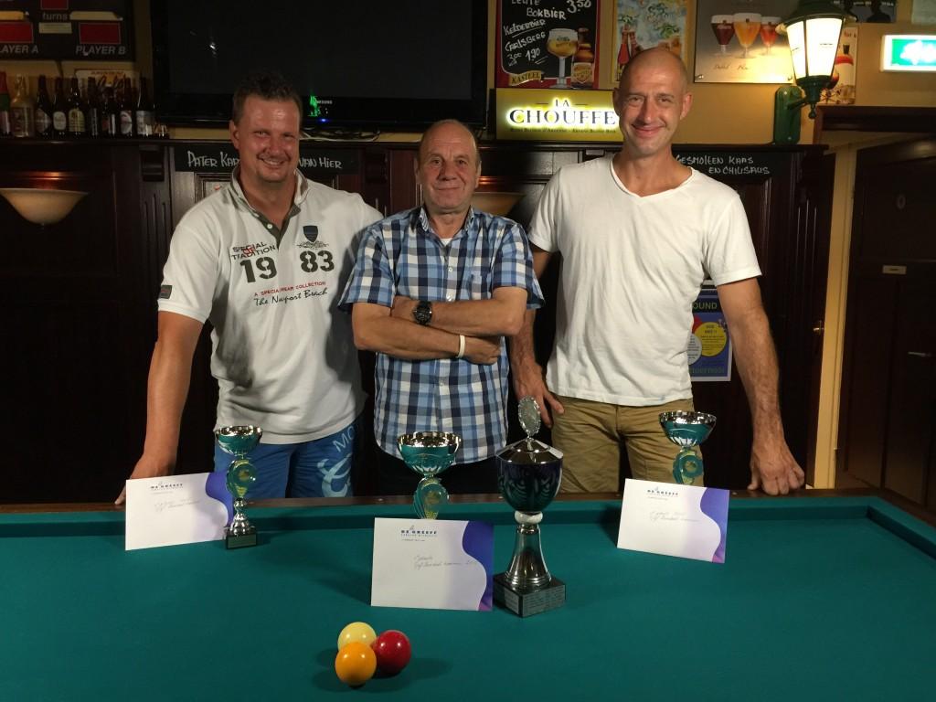 Vlnr: Noud van den Burgt (3e), Martien Verhaaren (1e) en Serge Dang (3e).
