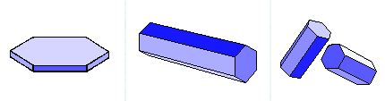 Figuur 3: Een plaatje (links) en een zuiltje (midden) in de stand waarin zij in de atmosfeer het meest voorkomen. Beide liggen in een horizontaal vlak. Rechts: zuiltjes in een willekeurige stand.