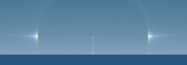 Computersimulatie van bijzonnen links en rechts van de zon. De bijzonnen hebben een 'staart' die van de zon af wijst.