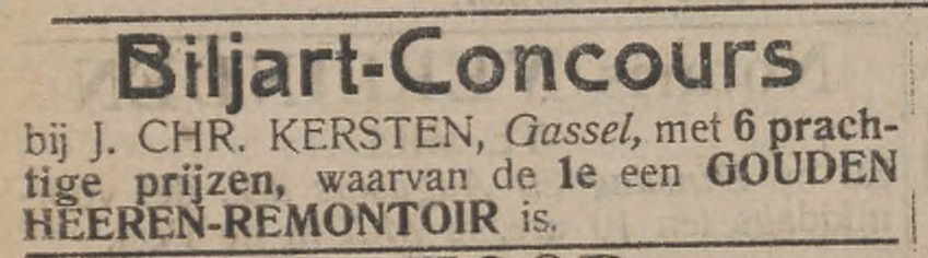 Biljartconcours Kersten Gassel