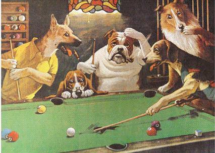 Dogs playing pool is een serie van posters die in veel biljartlocaties aan de wand hangt.